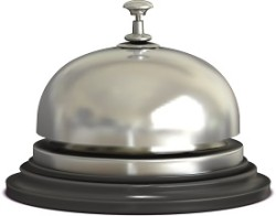Vector chrome Reception bell on white background. Vintage metal service design call.