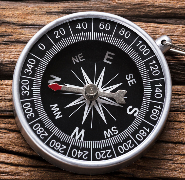 Compass And Question Mark On Wood Optio